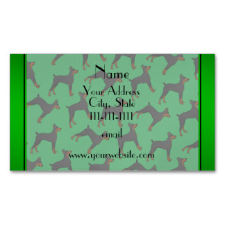 Personalized name green doberman pinschers magnetic business cards