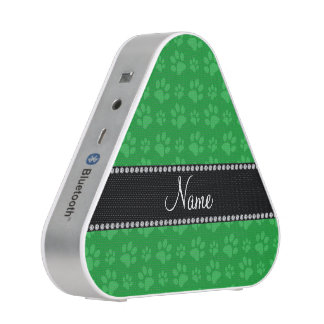 Personalized name green dog paw prints speaker