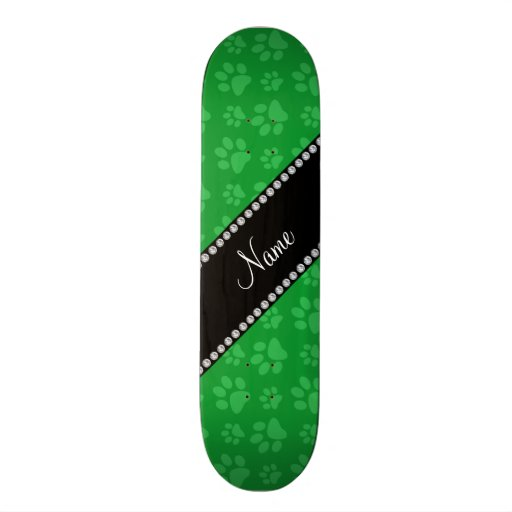 Personalized name green dog paw prints skateboards