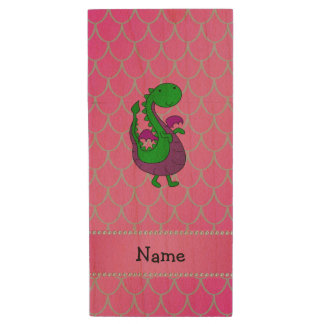 Personalized name green dragon pink scales wood USB 2.0 flash drive