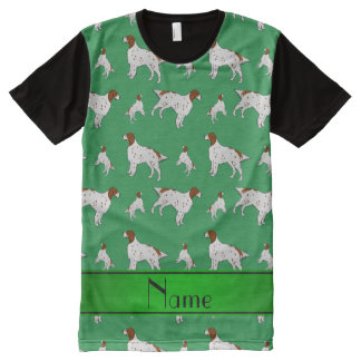 Personalized name green English Setter All-Over Print T-Shirt
