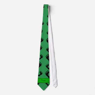 Personalized name green feet tie