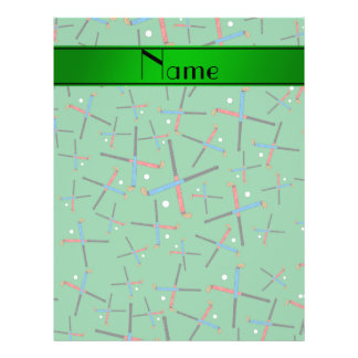 Personalized name green field hockey pattern 21.5 cm x 28 cm flyer