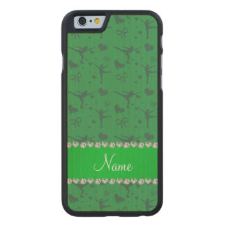 Personalized name green figure skating carved® maple iPhone 6 case