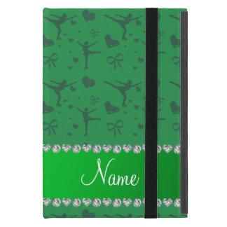 Personalized name green figure skating iPad mini covers