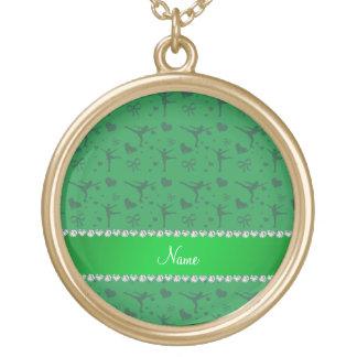 Personalized name green figure skating custom jewelry