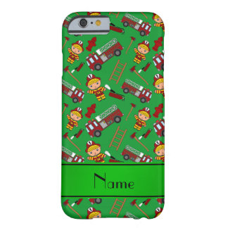 Personalized name green firemen trucks ladders barely there iPhone 6 case
