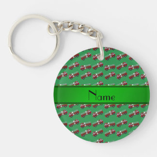 Personalized name green firetrucks keychain