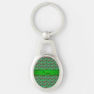 Personalized name green firetrucks key chains