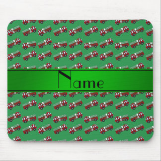 Personalized name green firetrucks mouse pad