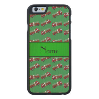 Personalized name green firetrucks carved® maple iPhone 6 case