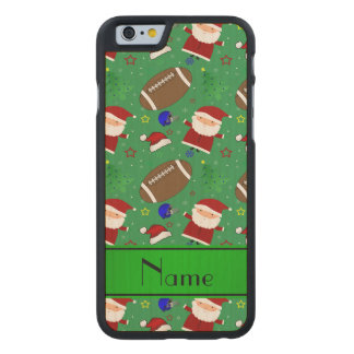 Personalized name green football christmas carved® maple iPhone 6 slim case