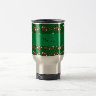 Personalized name green footballs travel mug