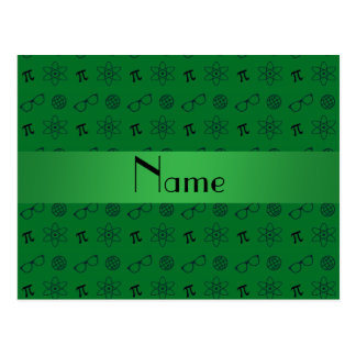 Personalized name green geek pattern postcard
