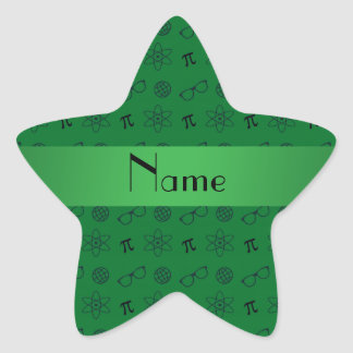 Personalized name green geek pattern stickers