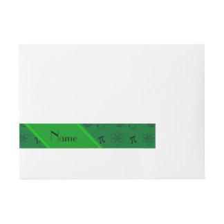 Personalized name green geek pattern wraparound address label