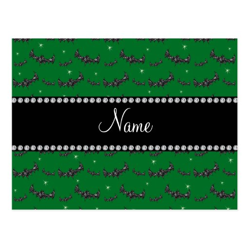 Personalized name green glitter bats post cards
