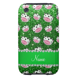 Personalized name green glitter cow heads tough iPhone 3 case