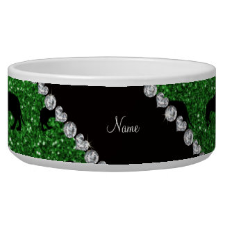 Personalized name green glitter dachshunds