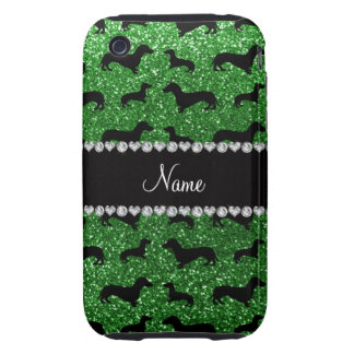 Personalized name green glitter dachshunds iPhone 3 tough cover