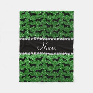 Personalized name green glitter dachshunds fleece blanket