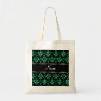 Personalized name green glitter damask canvas bag