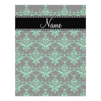 Personalized name green glitter damask personalized flyer