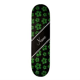 Personalized name green glitter flowers skateboard