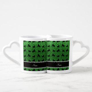 Personalized name green glitter horses lovers mug