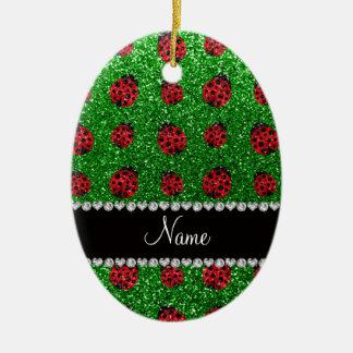 Personalized name green glitter ladybug ceramic oval decoration
