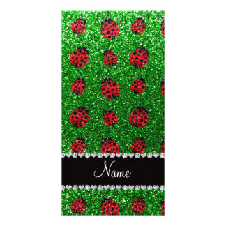 Personalized name green glitter ladybug photo card template