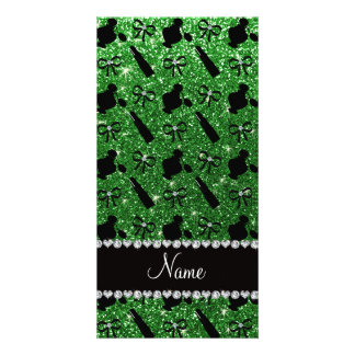 Personalized name green glitter perfume lipstick customized photo card