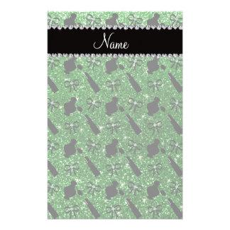 Personalized name green glitter perfume lipstick stationery