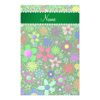 Personalized name green glitter retro flowers stationery design