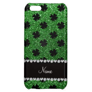 Personalized name green glitter shamrocks case for iPhone 5C