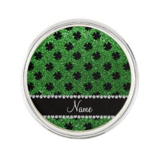Personalized name green glitter shamrocks lapel pin