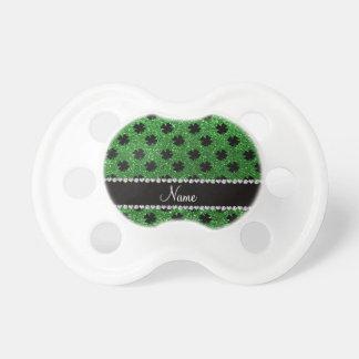 Personalized name green glitter shamrocks pacifier