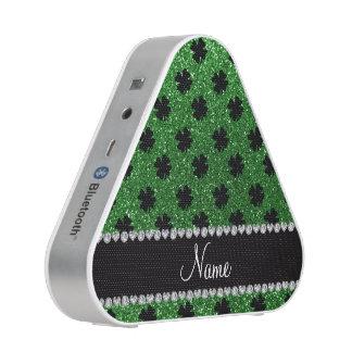 Personalized name green glitter shamrocks speaker