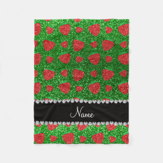 Personalized name green glitter strawberry fleece blanket