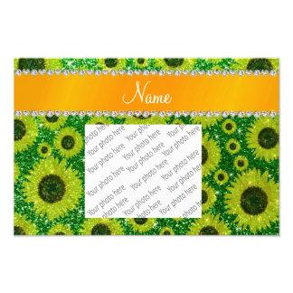 Personalized name green glitter sunflowers photo art