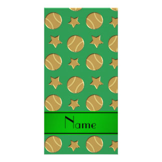 Personalized name green gold baseballs stars photo card