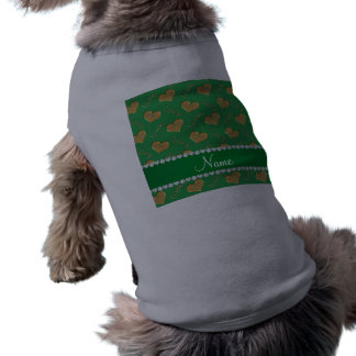 Personalized name green gold hearts mom love sleeveless dog shirt