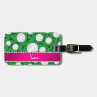 Personalized name green golf ball tees pink stripe travel bag tags