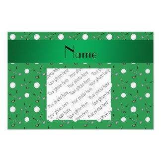 Personalized name green golf balls photo print