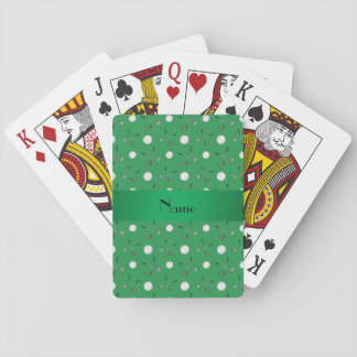 Personalized name green golf balls playing cards