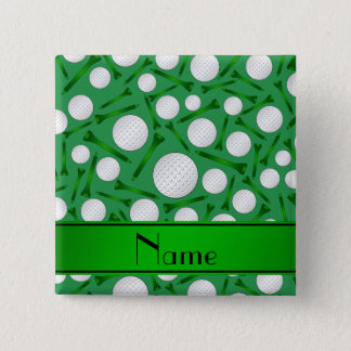 Personalized name green golf balls tees 15 cm square badge