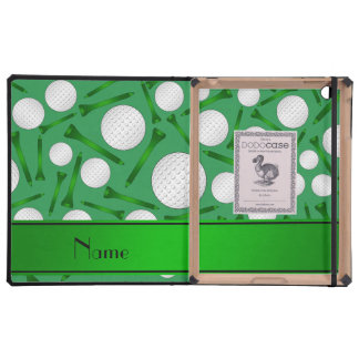 Personalized name green golf balls tees iPad folio case