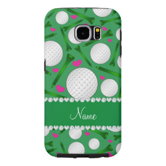 Personalized name green golf balls tees hearts samsung galaxy s6 cases