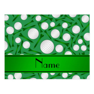 Personalized name green golf balls tees postcard