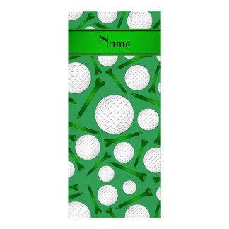 Personalized name green golf balls tees customized rack card